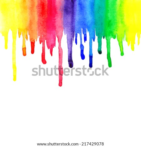 Rainbow watercolor streaks on white background. Vector illustration - stock vector