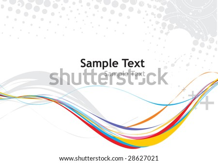 rainbow wave halftone line with sample text background