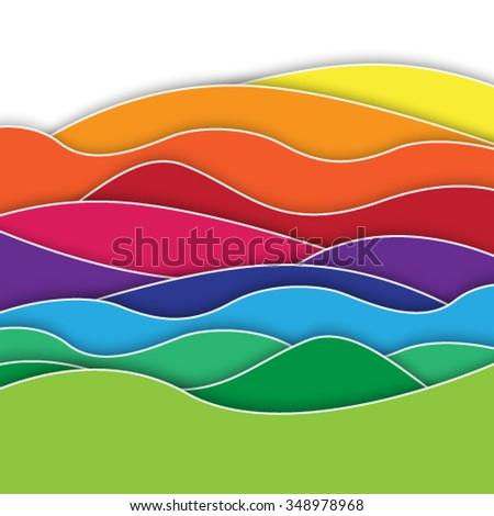 Rainbow waves abstract background - stock vector