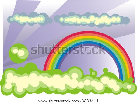 Rainbow with clouds ( vector )