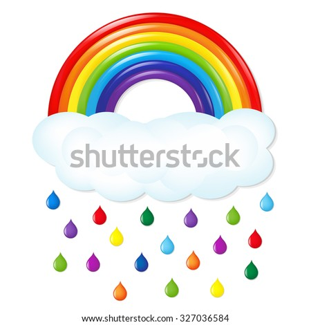 Rainbow With Color Rain With Gradient Mesh, Vector Illustration - stock vector