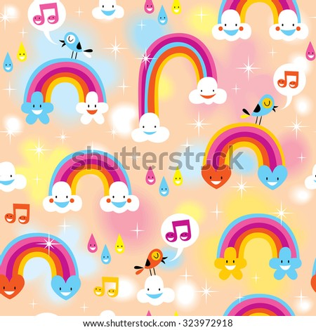 rainbows clouds sky pattern - stock vector