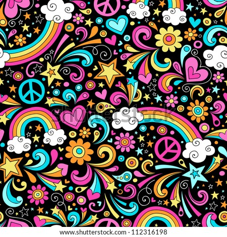 Rainbows Seamless Pattern Psychedelic Groovy Peace Notebook Doodle Design- Hand-Drawn Vector Illustration Background - stock vector
