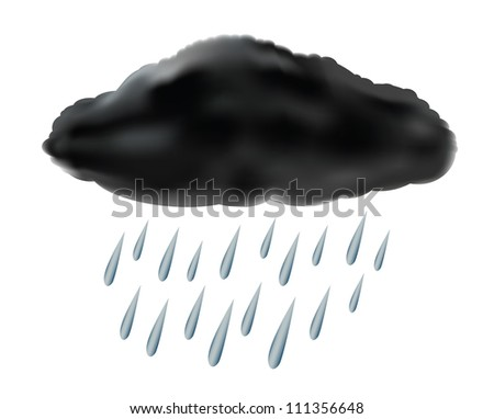 raincloud with raindrops - stock vector