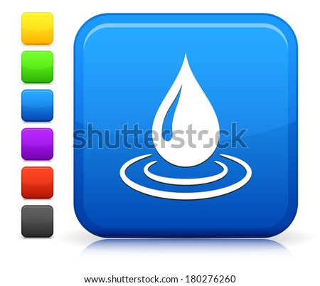 Raindrop Icon on Square Internet Button Collection - stock vector