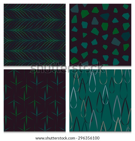 Rainy autumn forest mood, set of four beautifully composed dark green and brown seamless patterns with nature objects: raindrops, rocks, leaves, twigs. Dark retro color scheme. - stock vector