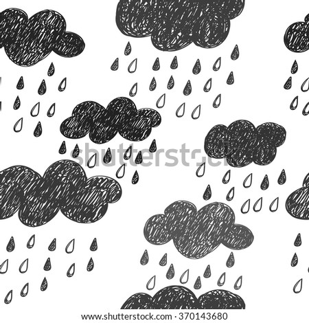 Rainy background. Clouds seamless pattern. Black and white colors.  - stock vector