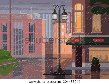 Rainy city. Vector flat cartoon illustration - stock vector