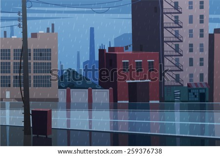 Rainy cityscape. Vector illustration. - stock vector