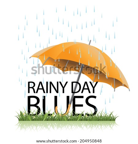 Rainy day blues umbrella in the rain icon. EPS 10 vector, grouped for easy editing. No open shapes or paths. - stock vector