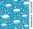Rainy seamless pattern in vector - stock vector