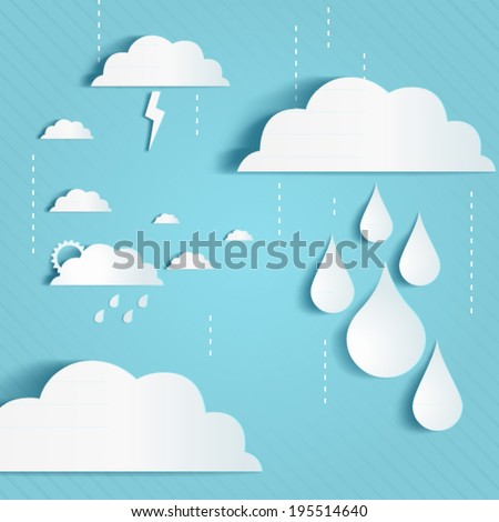 Rainy season background with clouds an raindrops - stock vector