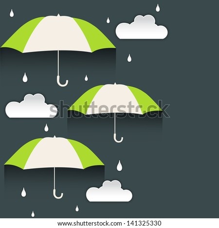 Rainy season background with clouds and umbrellas.