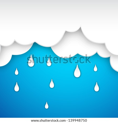 Rainy season background with raindrops and clouds. - stock vector