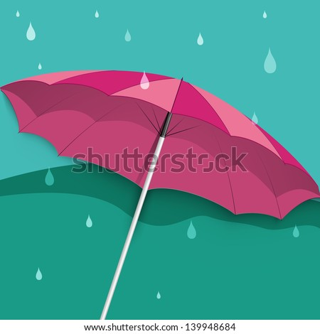 Rainy season background with raindrops and open umbrella.