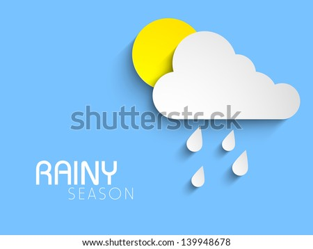 Rainy season background with sun and clouds and raindrops. - stock vector