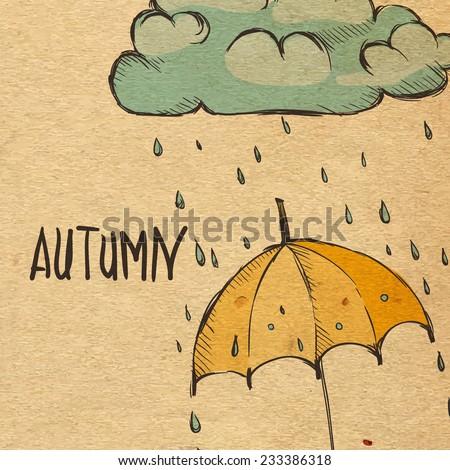 Rainy Season Background With Umbrella And Rain Drops, Eps 10 Vector Illustration - stock vector