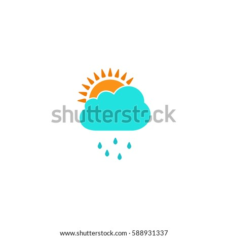 Rainy season. Color symbol icon on white background. Vector illustration