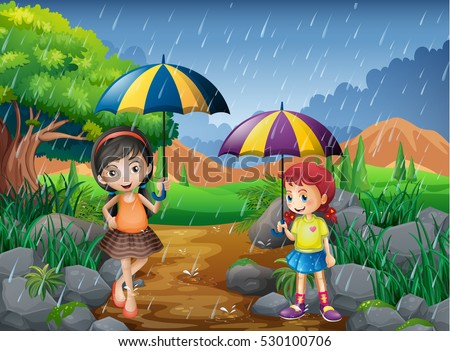 Rainy Season Two Girls Park Illustration Stock Vector ... Rainy Day Drawing Competition