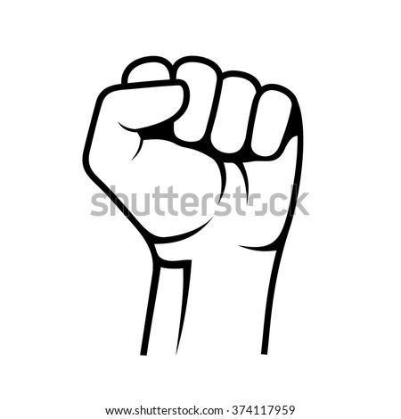 raised fist on white background vector stock photo (photo, vector