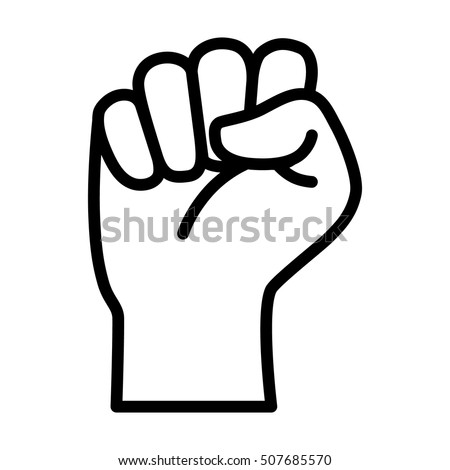 Raised Fist Symbol Victory Strength Power Stock Vector 507685570