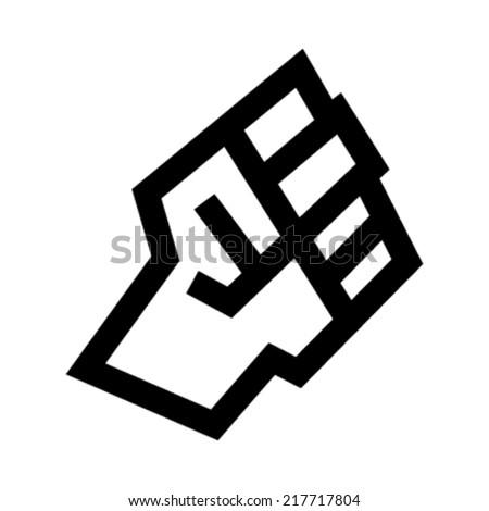 Raised fist vector icon - stock vector