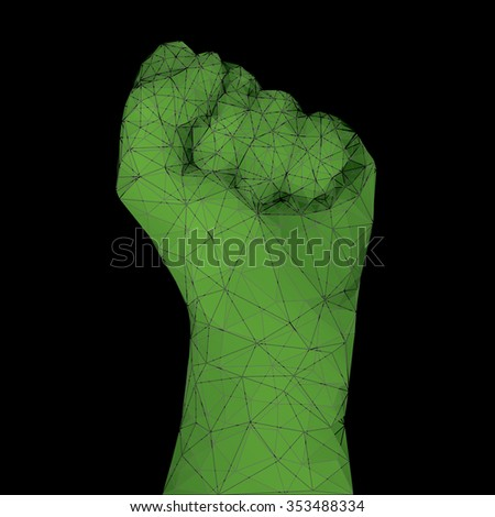 Raised fist vector illustration.