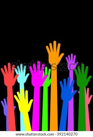 Raised Hands, Helping Hands, Team Work, Collaboration - Illustration - stock vector