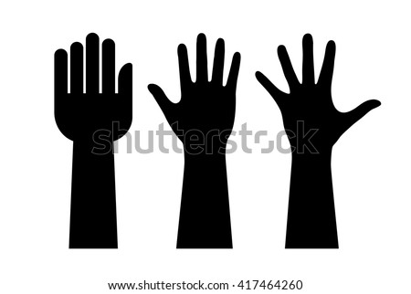 Raised hands silhouette on white background - stock vector