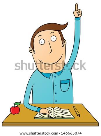 raising hand student - stock vector