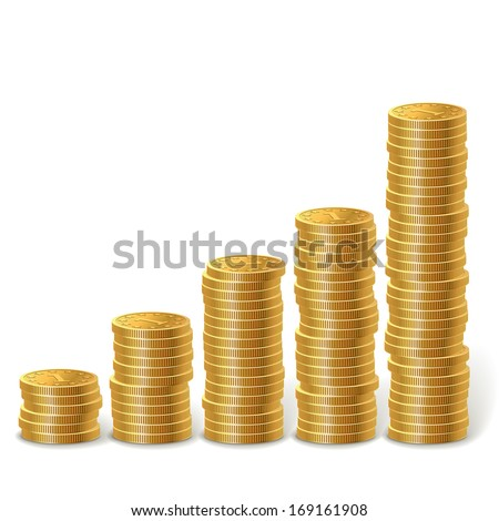Raising stacks of golden coins isolated on white background. - stock vector