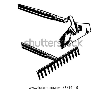 Rake And Hoe - Retro Clipart Illustration - stock vector