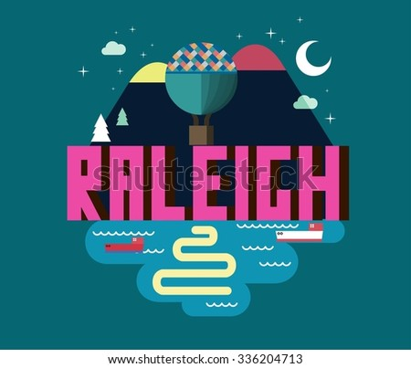 Raleigh destination brand logo. vector cartoon