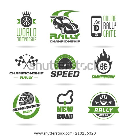 Rally icon set, sports icons - 2 - stock vector