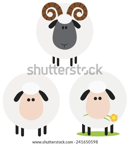 Ram And Sheep Modern Flat Design . Vector Collection Set Isolated on white - stock vector