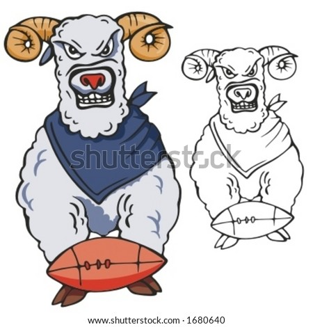 Ram Football Mascot for sport teams. Great for t-shirt designs, school mascot logo and any other design work. Ready for vinyl cutting. - stock vector