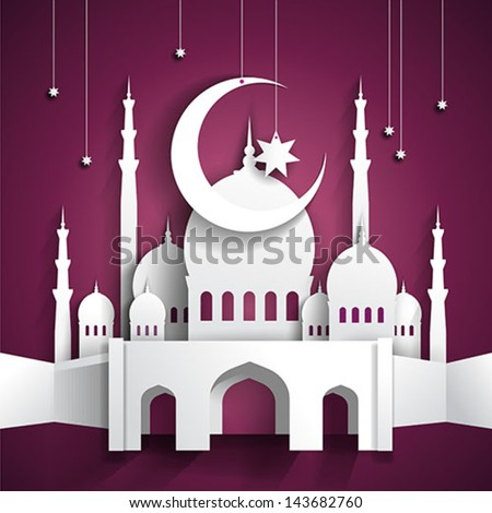 Ramadan background with 3d paper mosque - hari raya - vector illustration - stock vector