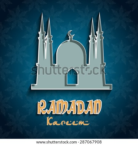 Ramadan blue  background with silhouette of a mosque .  Ramadan the Generous Month. Vector illustration - stock vector