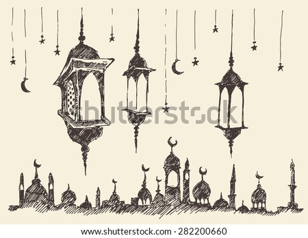 Ramadan celebration vintage engraved illustration, hand drawn - stock vector