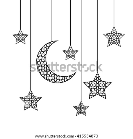 Ramadan Greeting Card On White Background Vector Illustration
