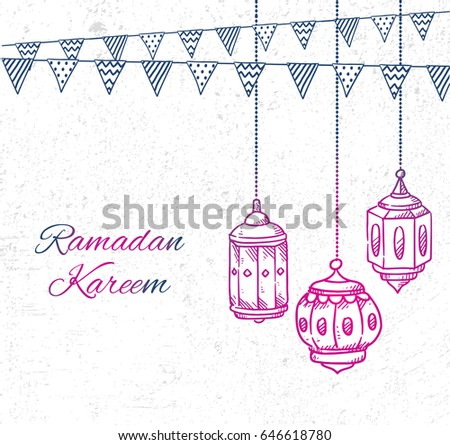 Ramadan greeting card with hand drawn lantern and bunting flag on grunge background