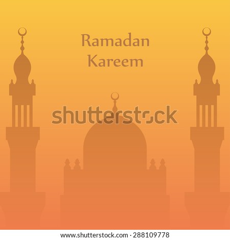 Ramadan greetings postcard with the image of the mosque. Ramadan Kareem means Generous month of Ramadan - stock vector