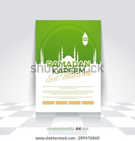 "Ramadan Kareem A4 Style Flyer, Brochure - Islamic Holy Month Theme Vector Design - Arabic ""Eid Mubarak"", ""be Blessed"" at English - stock vector"