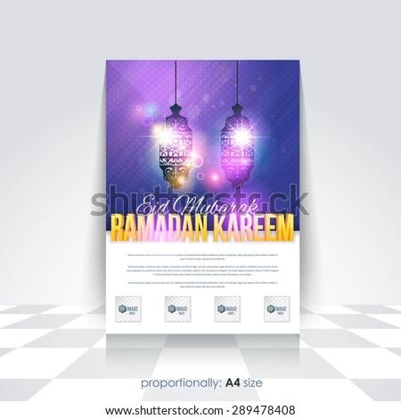 "Ramadan Kareem A4 Style Flyer, Brochure - Lantern Illustration, Islamic Holy Nights Theme Vector Design - Arabic ""Eid Mubarak"", ""be Blessed"" at English - stock vector"