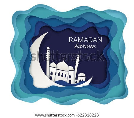Ramadan kareem background. Paper cut vector illustration with mosque and moon. Festive Ramadan greetings card design.