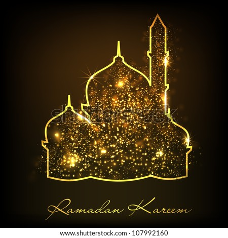 Ramadan Kareem background with Shiny mosque or Masjid. EPS 10. - stock vector