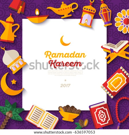 Ramadan Kareem banner with flat sticker icons and white square frame. Vector illustration. Eid Mubarak. Quran, Traditional Lanterns, Dates, Iftar food.