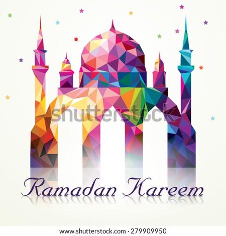 Ramadan Kareem Colorful Mosaic Mosque - stock vector
