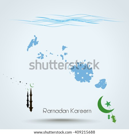 Ramadan Kareem, Feast of Ramadan in Federated States of Micronesia, Map flag of Federated States of Micronesia, Islamic holiday, eps 10