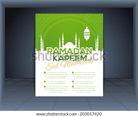 "Ramadan Kareem Flyer Poster - Islamic Holy Nights Theme Vector Design - ""Eid Mubarak"" Arabic ""be Blessed"" in English - Arabic ""Lorem Ipsum"" Text - stock vector"